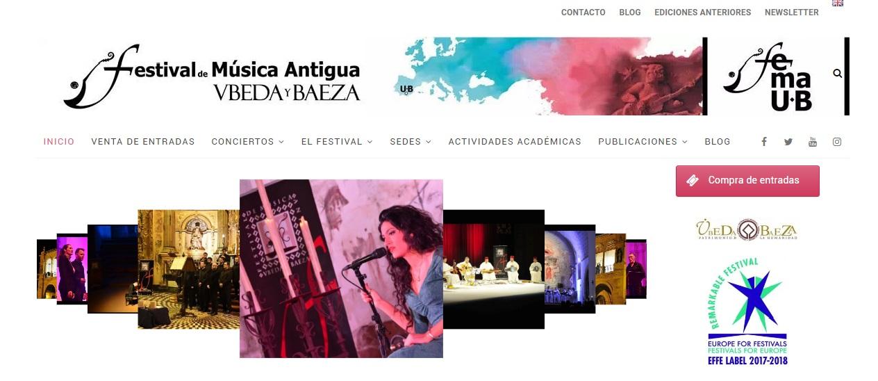página web Festival Música Antigua Úbeda y Baeza